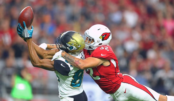 Nov 26, 2017; Glendale, AZ, USA; Arizona Cardinals safety Tyrann Mathieu (32) breaks up a pass intended for Jacksonville Jaguars wide receiver Keelan Cole in the second quarter at University of Phoenix Stadium. Photo Credit: Mark J. Rebilas-USA TODAY Sports