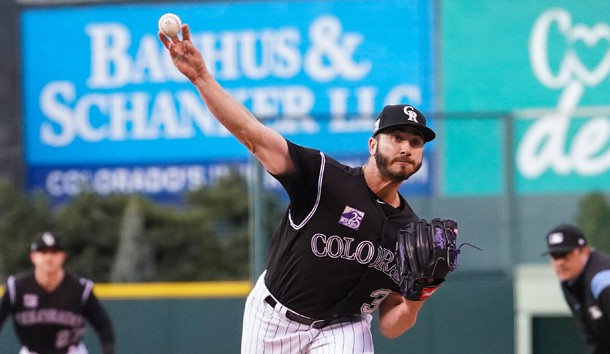 Apr 7, 2018; Denver, CO, USA; Colorado Rockies starting pitcher Chad Bettis (35) delivers a pitch in the first inning against the Atlanta Braves at Coors Field. Photo Credit: Troy Babbitt-USA TODAY Sports