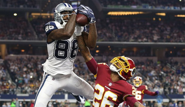 Nov 30, 2017; Arlington, TX, USA; Dallas Cowboys wide receiver Dez Bryant (88) makes a fourth quarter touchdown reception against Washington Redskins cornerback Bashaud Breeland (26) at AT&T Stadium. Photo Credit: Matthew Emmons-USA TODAY Sports