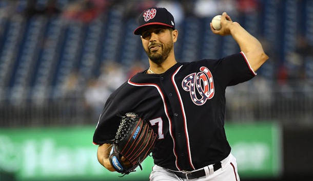 Apr 12, 2018; Washington, DC, USA; Washington Nationals starting pitcher Gio Gonzalez (47) throws to the Colorado Rockies during the second inning at Nationals Park. Photo Credit: Brad Mills-USA TODAY Sports
