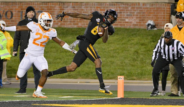 Nov 11, 2017; Columbia, MO, USA; Missouri Tigers wide receiver J'Mon Moore (6) scores a touchdown as Tennessee Volunteers defensive back Micah Abernathy (22) attempts the tackle during the second half at Faurot Field. Photo Credit: Denny Medley-USA TODAY Sports