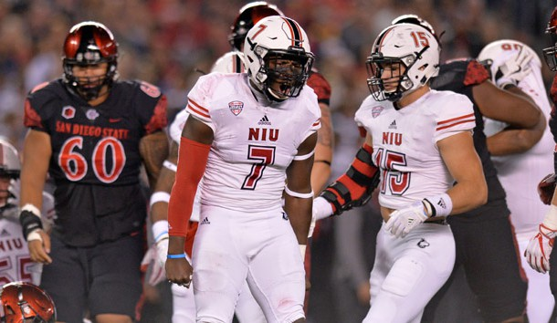 Sep 30, 2017; San Diego, CA, USA; Northern Illinois Huskies linebacker Jawuan Johnson (7) reacts during the first quarter against the San Diego State Aztecs at SDCCU Stadium. Photo Credit: Jake Roth-USA TODAY Sports