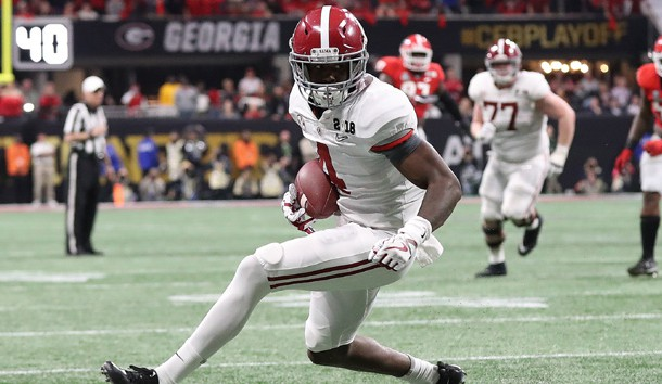 Jan 8, 2018; Atlanta, GA, USA; Alabama Crimson Tide receiver Jerry Jeudy (4) runs with the ball against the Georgia Bulldogs during the fourth quarter in the 2018 CFP national championship college football game at Mercedes-Benz Stadium. Photo Credit: Matthew Emmons-USA TODAY Sports