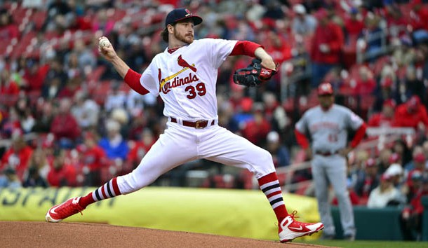 Apr 22 2018 St. Louis MO USA St. Louis Cardinals starting pitcher Miles Mikolas pitches during the first inning against the Cincinnati Reds at Busch Stadium