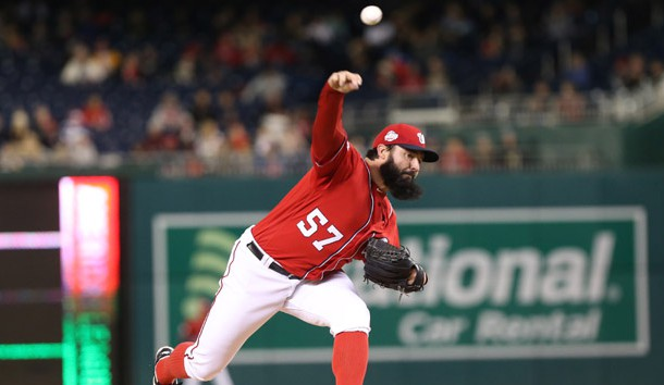 Apr 8, 2018; Washington, DC, USA; Washington Nationals starting pitcher Tanner Roark (57) pitches against the New York Mets in the first inning at Nationals Park. Photo Credit: Geoff Burke-USA TODAY Sports