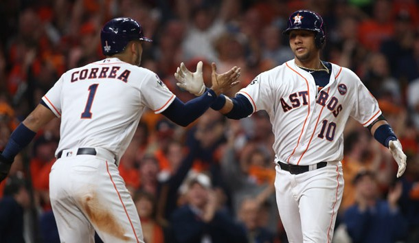 Oct 29, 2017; Houston, TX, USA; Houston Astros first baseman Yuli Gurriel (10) celebrates with shortstop Carlos Correa (1) after hitting a three-run home run against the Los Angeles Dodgers in game five of the 2017 World Series at Minute Maid Park. Photo Credit: Troy Taormina-USA TODAY Sports