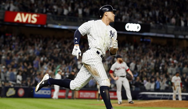 May 9, 2018; Bronx, NY, USA; New York Yankees right fielder Aaron Judge (99) watches a two-run home run off of  Boston Red Sox relief pitcher Craig Kimbrel (46) during the eighth inning at Yankee Stadium. Photo Credit: Adam Hunger-USA TODAY Sports