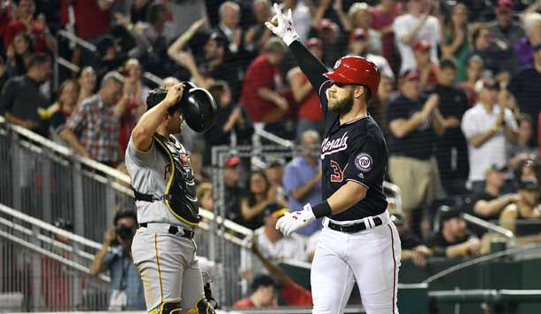 May 1, 2018; Washington, DC, USA; Washington Nationals right fielder Bryce Harper (34) gestures after hitting a three run homer against the Pittsburgh Pirates during the fifth inning at Nationals Park. Photo Credit: Brad Mills-USA TODAY Sports