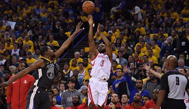 May 22, 2018; Oakland, CA, USA; Houston Rockets guard Chris Paul (3) shoots over Golden State Warriors forward Kevin Durant (35) during the second quarter in game four of the Western conference finals of the 2018 NBA Playoffs at Oracle Arena. Photo Credit: Kyle Terada-USA TODAY Sports