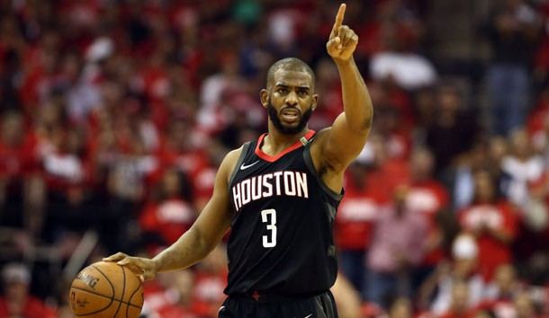 May 24, 2018; Houston, TX, USA; Houston Rockets guard Chris Paul (3) brings the ball up the court during the second quarter in game five of the Western conference finals of the 2018 NBA Playoffs against the Golden State Warriors at Toyota Center. Photo Credit: Troy Taormina-USA TODAY Sports