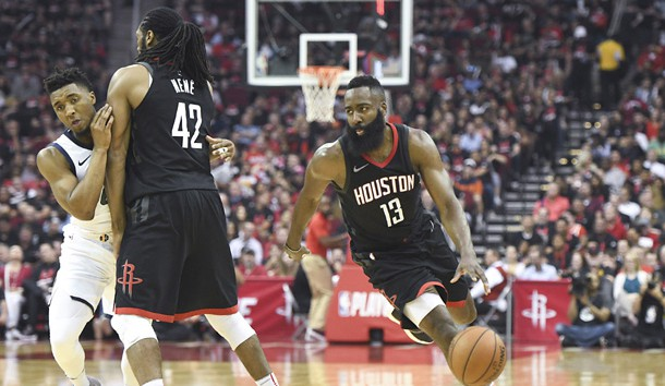 May 8, 2018; Houston, TX, USA; Houston Rockets guard James Harden (13) dribbles as center Nene Hilario (42) sets a pick against Utah Jazz guard Raul Neto (25) in the second half in game five of the second round of the 2018 NBA Playoffs at Toyota Center. Photo Credit: Thomas B. Shea-USA TODAY Sports