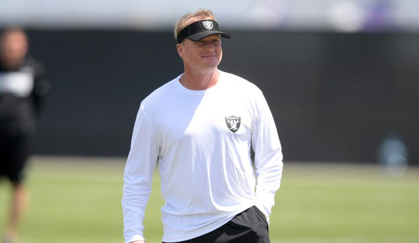 May 4, 2018; Oakland, CA, USA; Oakland Raiders coach Jon Gruden during rookie minicamp at the Raiders practice facility. Photo Credit: Kirby Lee-USA TODAY Sports