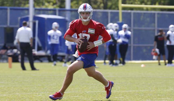 May 24, 2018; Orchard Park, NY, USA; Buffalo Bills quarterback Josh Allen (17) looks to throw a pass during OTA's at the ADPRO Sports Fieldhouse. Photo Credit: Timothy T. Ludwig-USA TODAY Sports