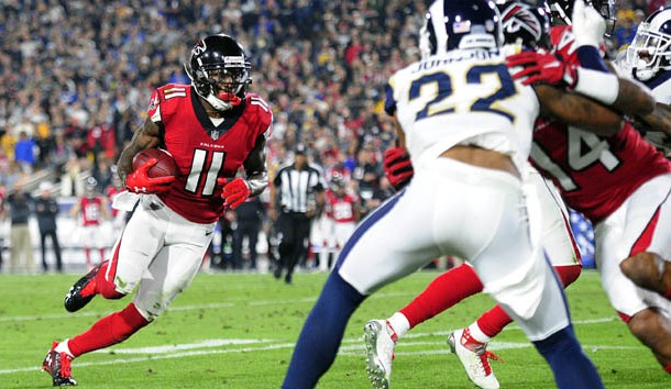 January 6, 2018; Los Angeles, CA, USA; Atlanta Falcons wide receiver Julio Jones (11) runs the ball against the Los Angeles Rams during the first half in the NFC Wild Card playoff football game at the Los Angeles Memorial Coliseum. Photo Credit: Gary A. Vasquez-USA TODAY Sports