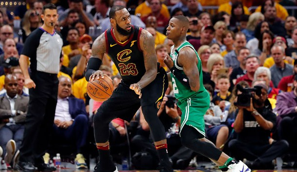 May 19, 2018; Cleveland, OH, USA; Cleveland Cavaliers forward LeBron James (23) drives against Boston Celtics guard Terry Rozier (12) in game three of the Eastern conference finals of the 2018 NBA Playoffs at Quicken Loans Arena. Photo Credit: Rick Osentoski-USA TODAY Sports