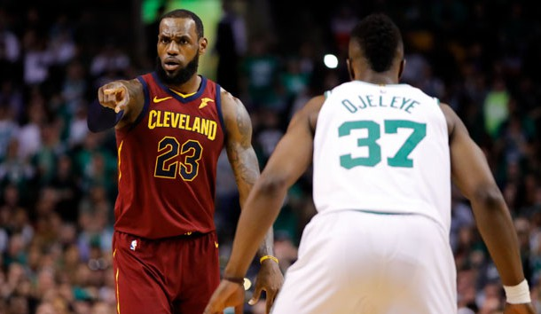 May 13, 2018; Boston, MA, USA; Cleveland Cavaliers forward LeBron James (23) directs a play in front of Boston Celtics forward Semi Ojeleye (37) during the second quarter in game one of the Eastern conference finals of the 2018 NBA Playoffs at TD Garden. Photo Credit: David Butler II-USA TODAY Sports