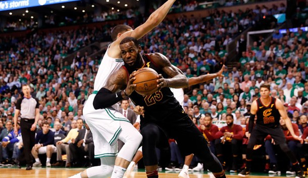 May 23, 2018; Boston, MA, USA; Cleveland Cavaliers forward LeBron James (23) drives against Boston Celtics forward Jayson Tatum (0) during the second quarter of game five of the Eastern conference finals of the 2018 NBA Playoffs at TD Garden. Photo Credit: Winslow Townson-USA TODAY Sports
