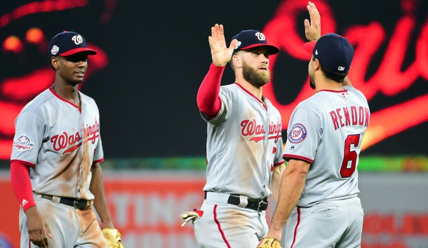 May 29, 2018; Baltimore, MD, USA; Washington Nationals outfielder Bryce Harper (34) high fives third baseman Anthony Rendon (6) after beating the Baltimore Orioles 3-2 at Oriole Park at Camden Yards. Photo Credit: Evan Habeeb-USA TODAY Sports