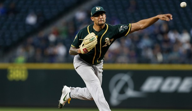 Sean Manaea (55) throws against the Seattle Mariners during the fourth inning at Safeco Field. Photo Credit: Joe Nicholson-USA TODAY Sports