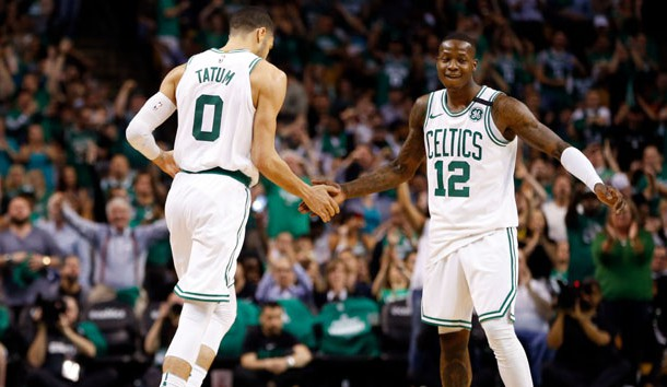 May 23, 2018; Boston, MA, USA; Boston Celtics forward Jayson Tatum (0) and Boston Celtics guard Terry Rozier (12) high-five after a score during the third quarter against the Cleveland Cavaliers in game five of the Eastern conference finals of the 2018 NBA Playoffs at TD Garden. Photo Credit: Greg M. Cooper-USA TODAY Sports