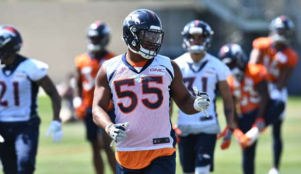 Jun 12, 2018; Englewood, CO, USA; Denver Broncos linebacker Bradley Chubb (55) during mini camp drills at the UCHealth Training Center. Photo Credit: Ron Chenoy-USA TODAY Sports
