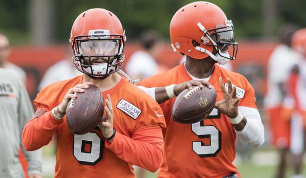 Jun 12, 2018; Berea, OH, USA; Cleveland Browns quarterback Baker Mayfield (6) and quarterback Tyrod Taylor (5) throw passes during minicamp at the Cleveland Browns training facility. Photo Credit: Ken Blaze-USA TODAY Sports