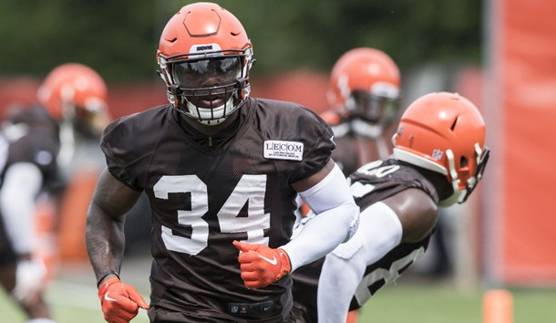 Jun 12, 2018; Berea, OH, USA; Cleveland Browns running back Carlos Hyde (34) runs a drill during minicamp at the Cleveland Browns training facility. Photo Credit: Ken Blaze-USA TODAY Sports