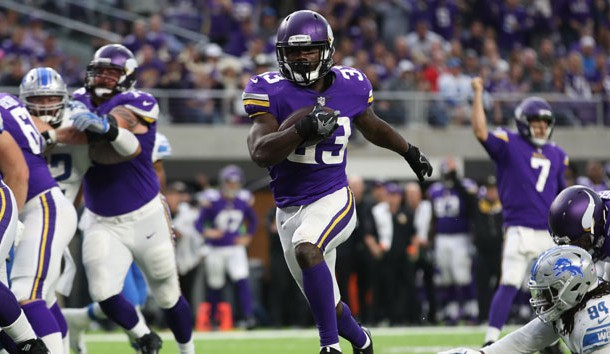 Oct 1, 2017; Minneapolis, MN, USA; Minnesota Vikings running back Dalvin Cook (33) scores against the Detroit Lions in the first half at U.S. Bank Stadium. Photo Credit: Reese Strickland-USA TODAY Sports