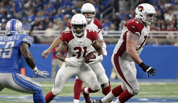 Sep 10, 2017; Detroit, MI, USA; Arizona Cardinals running back David Johnson (31) runs the ball against Detroit Lions middle linebacker Tahir Whitehead (59) during the second quarter at Ford Field. Photo Credit: Raj Mehta-USA TODAY Sports