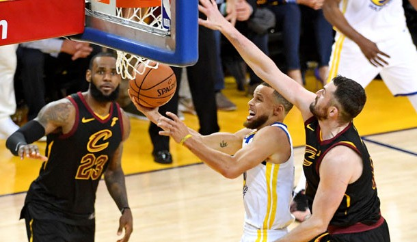 May 31, 2018; Oakland, CA, USA; Golden State Warriors guard Stephen Curry (30) shoots the ball against Cleveland Cavaliers center Kevin Love (0) during the fourth quarter in game one of the 2018 NBA Finals at Oracle Arena. Photo Credit: Kyle Terada-USA TODAY Sports