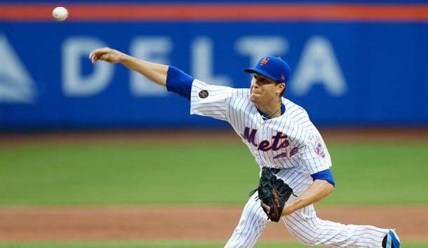 Jun 2, 2018; New York City, NY, USA;  New York Mets starting pitcher Jacob deGrom (48) delivers a pitch against the Chicago Cubs in the first inning at Citi Field. Photo Credit: Noah K. Murray-USA TODAY Sports