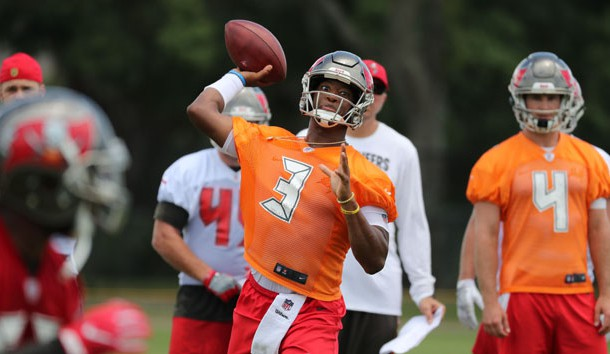 Jun 12, 2018; Tampa Bay, FL, USA; Tampa Bay Buccaneers quarterback Jameis Winston (3) works out during minicamp at One Buccaneer Place. Photo Credit: Kim Klement-USA TODAY Sports