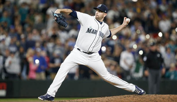 May 19, 2018; Seattle, WA, USA; Seattle Mariners starting pitcher James Paxton (65) throws against the Detroit Tigers during the ninth inning at Safeco Field. Photo Credit: Joe Nicholson-USA TODAY Sports