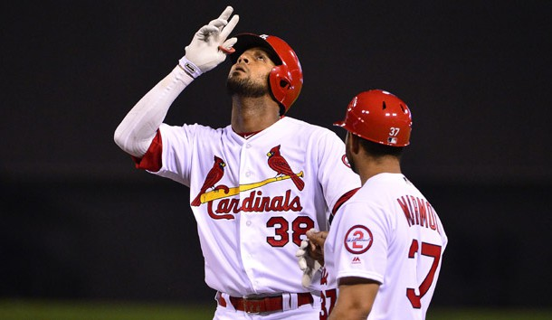 Jun 11, 2018; St. Louis, MO, USA; St. Louis Cardinals first baseman Jose Martinez (38) celebrates after hitting a single off of San Diego Padres starting pitcher Jordan Lyles (not pictured) during the fifth inning at Busch Stadium. Photo Credit: Jeff Curry-USA TODAY Sports
