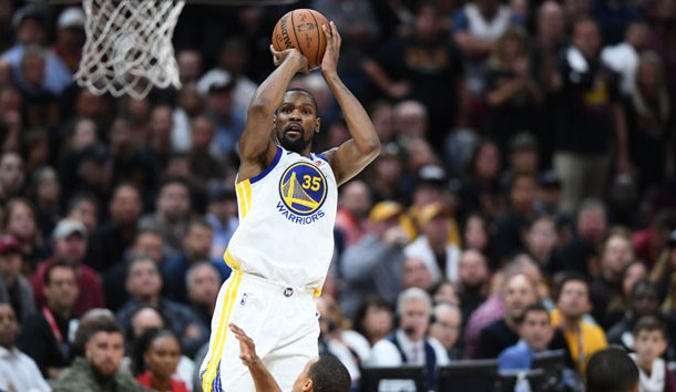 Jun 6, 2018; Cleveland, OH, USA; Golden State Warriors forward Kevin Durant (35) shoots against the Cleveland Cavaliers during the second quarter in game three of the 2018 NBA Finals at Quicken Loans Arena. Photo Credit: Ken Blaze-USA TODAY Sports