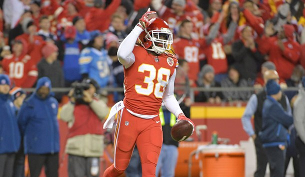 Dec 16, 2017; Kansas City, MO, USA; Kansas City Chiefs free safety Ron Parker (38) celebrates after intercepting a pass during the second half against the Los Angeles Chargers at Arrowhead Stadium. Photo Credit: Denny Medley-USA TODAY Sports