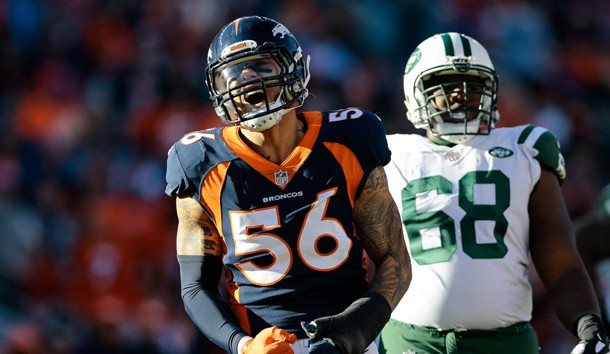 Dec 10, 2017; Denver, CO, USA; Denver Broncos outside linebacker Shane Ray (56) reacts after a play in the second quarter against the New York Jets at Sports Authority Field at Mile High. Photo Credit: Isaiah J. Downing-USA TODAY Sports