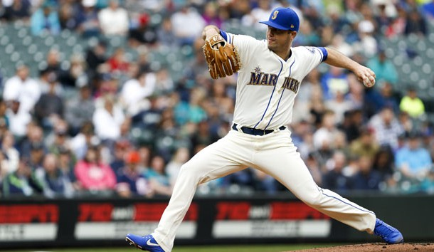 Wade LeBlanc (49) will try to get the Mariners in the win column Sunday.  Photo Credit: Joe Nicholson-USA TODAY Sports