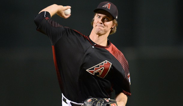 Jun 2, 2018; Phoenix, AZ, USA; Arizona Diamondbacks starting pitcher Zack Greinke (21) pitches against the Miami Marlins during the first inning at Chase Field. Photo Credit: Joe Camporeale-USA TODAY Sports