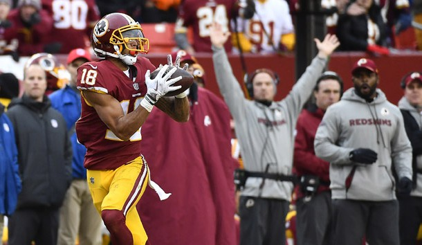Dec 24, 2017; Landover, MD, USA; Washington Redskins wide receiver Josh Doctson (18) catches a touchdown pass against the Denver Broncos during the second half at FedEx Field. Photo Credit: Brad Mills-USA TODAY Sports