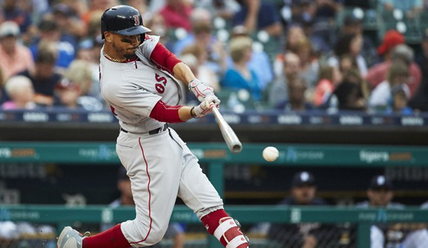 Jul 21, 2018; Detroit, MI, USA; Boston Red Sox right fielder Mookie Betts (50) hits a single in the fifth inning against the Detroit Tigers at Comerica Park. Photo Credit: Rick Osentoski-USA TODAY Sports
