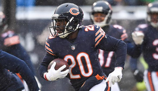 Dec 24, 2017; Chicago, IL, USA; Chicago Bears defensive back Prince Amukamara (20) runs the ball against the Cleveland Browns during a game at Soldier Field. The Bears won 20-3. Photo Credit: Patrick Gorski-USA TODAY Sports