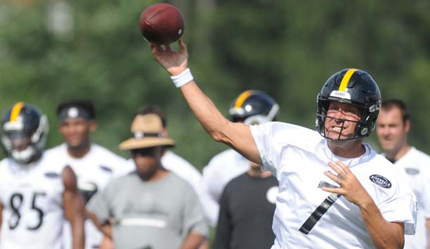 Jul 27, 2018; Latrobe, PA, USA; Pittsburgh Steelers quarterback Ben Roethlisberger (7) throws the ball during training camp at St. Vincent College. Photo Credit: Philip G. Pavely-USA TODAY Sports