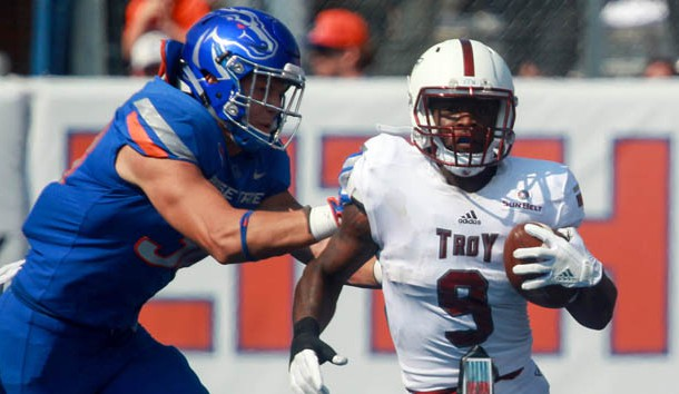 Sep 2, 2017; Boise, ID, USA; Troy Trojans running back Jamarius Henderson (9) during second half action versus the Boise State Broncos at Albertsons Stadium. Boise State defeats Troy 24-13. Photo Credit: Brian Losness-USA TODAY Sports