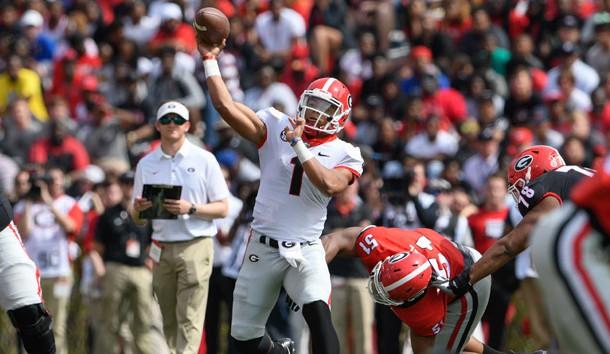 Apr 21, 2018; Athens, GA, USA; Georgia Bulldogs quarterback Justin Fields (1) passes during the Georgia Spring Game at Sanford Stadium. Photo Credit: Dale Zanine-USA TODAY Sports