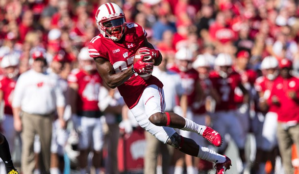 Oct 21, 2017; Madison, WI, USA; Wisconsin Badgers wide receiver Quintez Cephus (87) during the game against the Maryland Terrapins at Camp Randall Stadium. Photo Credit: Jeff Hanisch-USA TODAY Sports