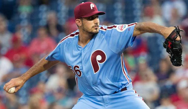 Aug 16, 2018; Philadelphia, PA, USA; Philadelphia Phillies starting pitcher Zach Eflin (56) throws a pitch during the first inning against the New York Mets at Citizens Bank Park. Photo Credit: Bill Streicher-USA TODAY Sports