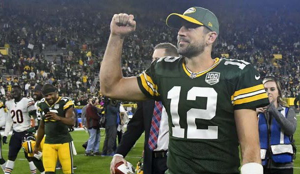 Sep 9, 2018; Green Bay, WI, USA;  Green Bay Packers quarterback Aaron Rodgers (12) celebrates after beating the Chicago Bears at Lambeau Field. Photo Credit: Benny Sieu-USA TODAY Sports