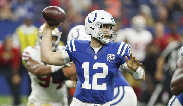 Aug 25, 2018; Indianapolis, IN, USA;  Indianapolis Colts quarterback Andrew Luck (12) throws a pass against the San Francisco 49ers during the first quarter at Lucas Oil Stadium. Photo Credit: Brian Spurlock-USA TODAY Sports