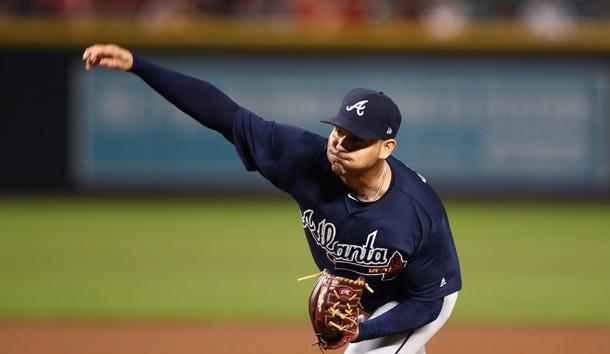 Sep 6, 2018; Phoenix, AZ, USA; Atlanta Braves pitcher Anibal Sanchez throws in the first inning against the Arizona Diamondbacks at Chase Field. Photo Credit: Mark J. Rebilas-USA TODAY Sports